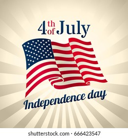 American Independence Day design - banner or poster for web, print and other projects, USA waving flag, 4th of july celebration, vector template
