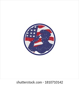 American Independence Day logo silhouette icon