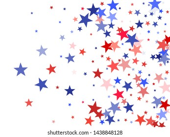 American Independence Day red blue white stars vector background. USA flag colors trendy july 4th wallpaper. Flying star sparkles american symbols. Independence day celebration graphics.