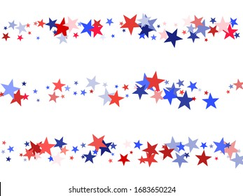 American Independence Day red blue white stars vector backgound. USA flag colors cool fourth of july wallpaper. Flying stars confetti american symbols. Independence day celebration illustration.