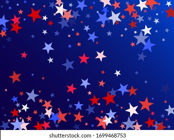 American Independence Day red blue white stars vector backgound. USA flag colors trendy july 4th wallpaper. Flying stars confetti american symbols. Independence day celebration illustration.