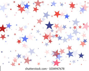 American Independence Day stars background.  Holiday confetti in US flag colors for President Day. Red blue stars American patriotic design. 4th of July stardust on white.