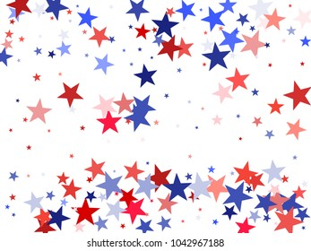 American Independence Day stars background.  Holiday confetti in US flag colors for Independence Day. Red blue stars flying American patriotic background. 4th of July stardust on white.