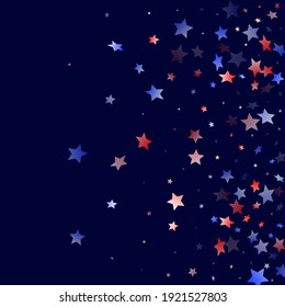American Independence Day stars background. Holiday confetti in USA flag colors for Presidents Day. Trendy red blue white stars on dark American patriotic vector. 4th of July stardust scatter.