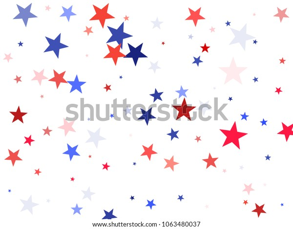American Independence Day stars background.  Holiday confetti in US flag colors for President Day. Red blue stars American patriotic graphics. July 4th stardust elements.