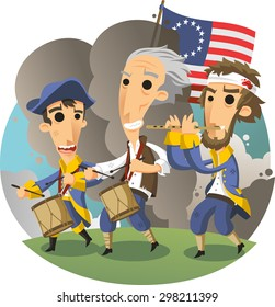 American Independence revolution, the spirit of 76, Yankee Doodle march cartoon illustration