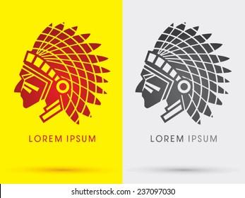 American Indian chief ,head,face,side , logo, symbol, icon, graphic, vector .