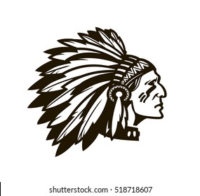 American Indian Chief. Logo or icon. Vector illustration