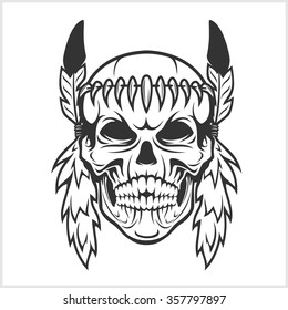 American Indian Chief Skull isolated in white