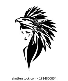 american indian chief woman wearing traditional feathered headdress with eagle head black and white vector portrait