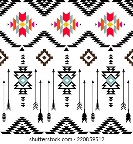 American indian ethnic geometric seamless pattern.