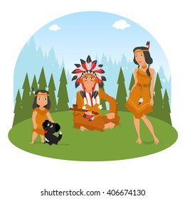 American Indian family has a rest on the nature. vector.