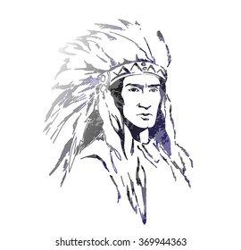 American  indian with feathers