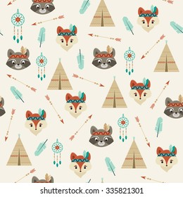 American Indian fox and raccoon characters, wigwam, feather, bow and arrow, dream catcher. Cute seamless pattern.