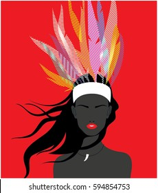 American Indian girl wearing a headdress of feathers. Vector illustration.