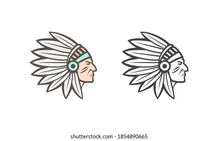 American Indian logo. Vector illustration can be used as an icon, logo or illustration