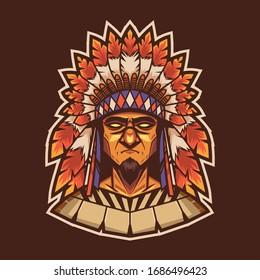american indian mascot illustration - vector file