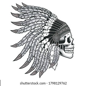 American indian skull in national headdress. Vector illustration for use as print, poster, sticker, logo, tattoo, emblem and other.