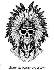american indian skull / T-shirt graphics / men's t-shirt illustration / vector design