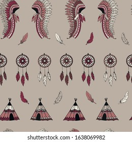 American indian symbols seamless pattern background texture