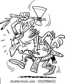 American Indian i tomahawks. Vector Illustration