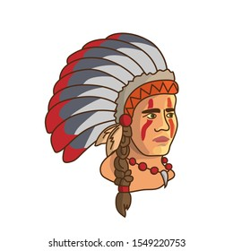 American indian tribal nations, apache, portrait young man in mohawk, cute colorful cartoon character, vector Illustration, isolated on white background.