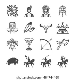 American Indian Tribe Icons. Included the icons as culture, arrow, bison, Indians, tent, hunt and more.