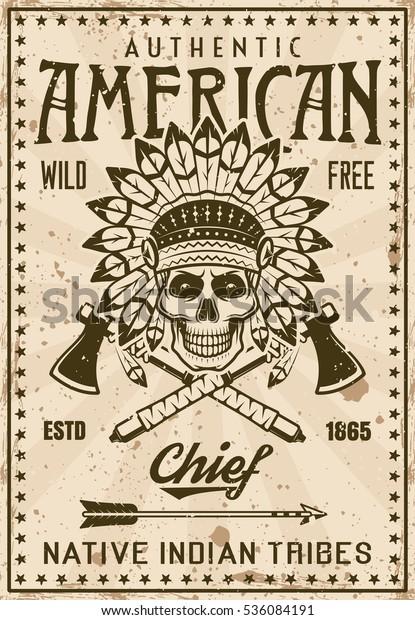 amerikanische indianische stamm vintageplakatvorlage