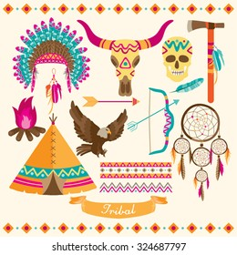 American Indian Vector Design Illustration