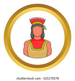 American indian vector icon in golden circle, cartoon style isolated on white background