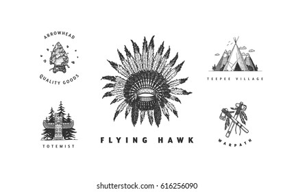 American indian vector logos collection. Cool hand drawn sketchy badges and labels. Feather headdress, totem, teepee, arrowhead, tomahawks.