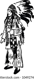 American indian warior. Vector illustration isolated on background.