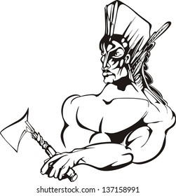 American indian warrior. Black and white vector illustration.