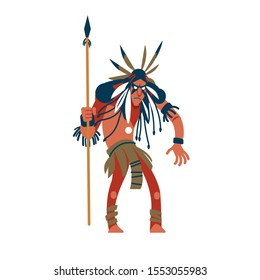 American Indian warrior man wearing war bonnet and traditional clothes and holding spear. Native peoples of America. Male cartoon character isolated on white background. illustration.