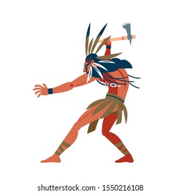 American indian warrior ran to attack its prey. Unusual savage costume, jewelry, makeup combat and tomahawk in hand. Cartoon, flat vector illustration isolated white background.