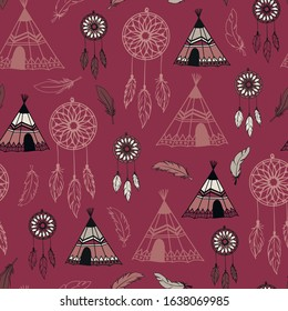 American indian wigwam and dream catcher seamless pattern background texture