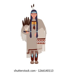 American Indian woman with braids or  wearing ethnic tribal clothes. Indigenous peoples of America. Female cartoon character isolated on white background. Colorful flat vector illustration.
