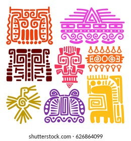 American indians ancient totems vector illustration. Mayan, inca and aztec drawings vector symbols