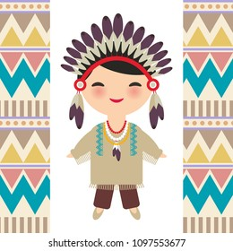 American indians Kawaii boy in national costume. Cartoon children in traditional dress Indigenous peoples of the Americas. Triangle and line tribal Navajo pattern. Vector illustration