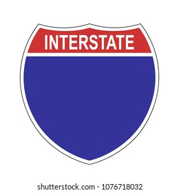 American Interstate blank highway sign, blank template sign, vector illustration.