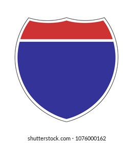American Interstate highway sign, blank template sign, vector illustration.