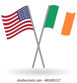 American and Irish crossed flags. United States of America combined with Ireland isolated on white. Language learning, international business or travel concept.
