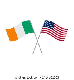 American and Irish flags vector isolated on white background