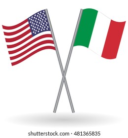 American and Italian crossed flags. United States of America combined with Italy isolated on white. Language learning, international business or travel concept.