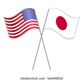 American and Japanese crossed flags. United States of America combined with Japan isolated on white. Language learning, international business or travel concept.