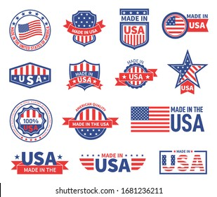 American labels. Made in usa seal badges design. Patriotic logo or stamp. Isolated tags with flag of america and star symbols vector set