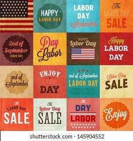 American Labor day designs set. Vintage paper texture background. Sale, enjoy lettering. Flag.