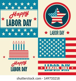 American Labor Day designs set. A set of retro typographic cards.