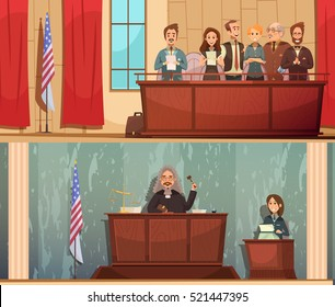 American law and justice 2 vintage cartoon horizontal banners with pronouncing sentence in courtroom isolated vector illustration