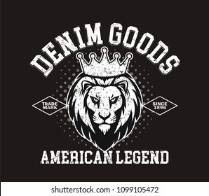 American legend,Lion head logo for t-shirt